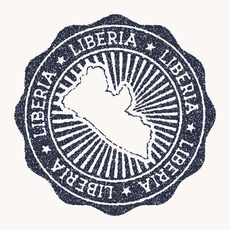 Liberia stamp. Travel rubber stamp with the name and map of country, vector illustration. Can be used as insignia, logotype, label, sticker or badge of the Liberia.