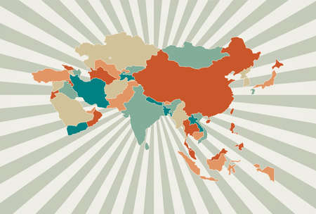 Asia map. Poster with map of the continent in retro color palette. Shape of Asia with sunburst rays background. Vector illustration.