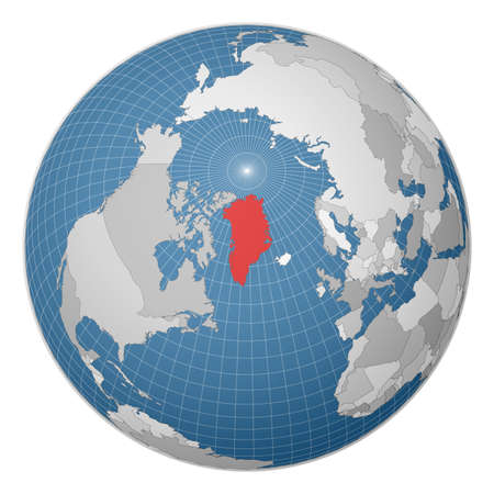 Globe centered to Greenland. Country highlighted with green color on world map. Satellite world projection. Radiant vector illustration.