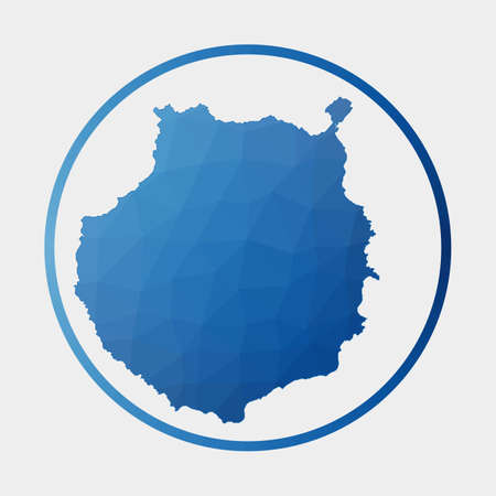 Gran Canaria icon. Polygonal map of the island in gradient ring. Round low poly Gran Canaria sign. Vector illustration.