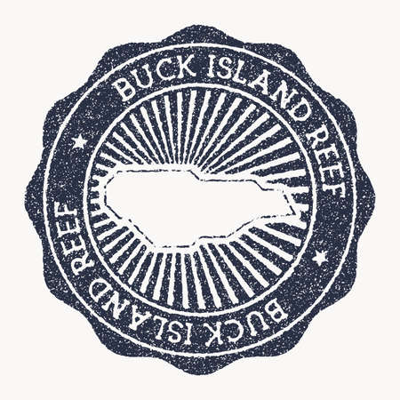 Buck Island Reef stamp. Travel rubber stamp with the name and map of island, vector illustration. Can be used as insignia, logotype, label, sticker or badge of the Buck Island Reef.