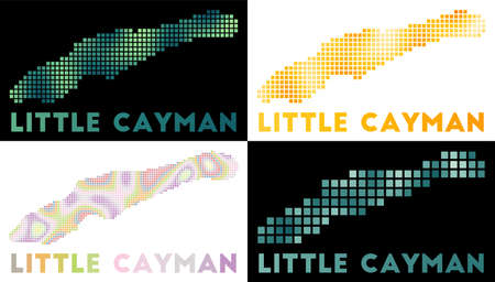 Little Cayman map. Collection of map of Little Cayman in dotted style. Borders of the island filled with rectangles for your design. Vector illustration.