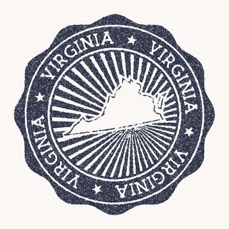 Virginia stamp. Travel rubber stamp with the name and map of us state, vector illustration. Can be used as insignia, logotype, label, sticker or badge of the Virginia.