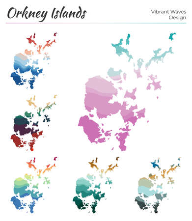 Set of vector maps of Orkney Islands. Vibrant waves design. Bright map of island in geometric smooth curves style. Multicolored Orkney Islands map for your design. Captivating vector illustration.