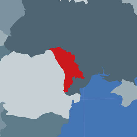 Shape of the Moldova in context of neighbour countries. Country highlighted with red color on world map. Moldova map template. Vector illustration.