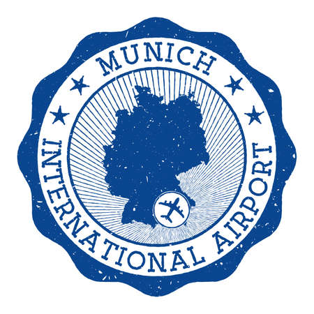 Munich International Airport stamp. Airport of Munich round  with location on Germany map marked by airplane. Vector illustration. Illusztráció