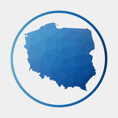 Poland icon. Polygonal map of the country in gradient ring. Round low poly Poland sign. Vector illustration. 向量圖像