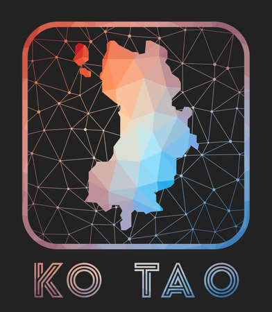 Ko Tao map design. Vector low poly map of the island. Ko Tao icon in geometric style. The island shape with polygnal gradient and mesh on dark background. 向量圖像