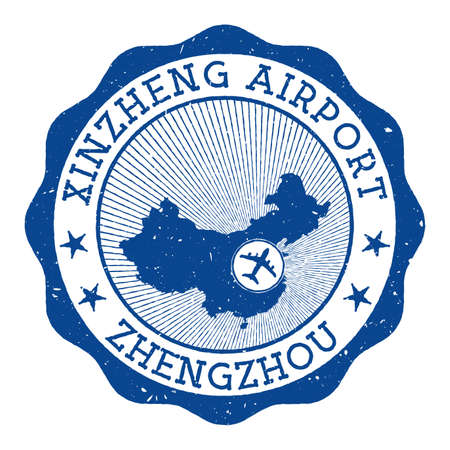 Xinzheng Airport Zhengzhou stamp. Airport of Zhengzhou round with location on China map marked by airplane. Vector illustration.