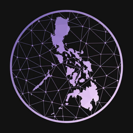 Philippines icon. Vector polygonal map of the country. Philippines icon in geometric style. The country map with purple low poly gradient on dark background. 向量圖像