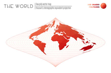 World map in polygonal style. Foucaut's stereographic equivalent projection of the world. Red Shades colored polygons. Amazing vector illustration.