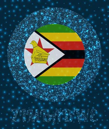 Round Zimbabwe badge. Flag of Zimbabwe in glowing network mesh style. Country network . Stylish vector illustration.