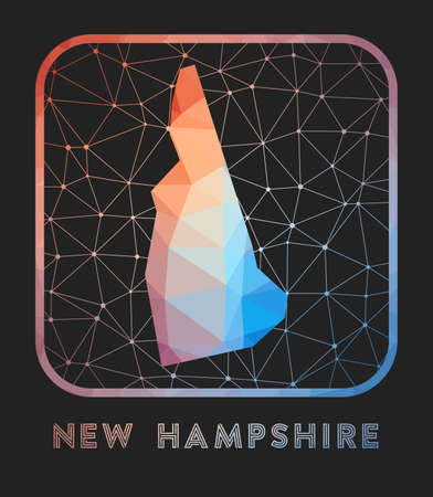 New Hampshire map design. Vector low poly map of the us state. New Hampshire icon in geometric style. The us state shape with polygnal gradient and mesh on dark background.