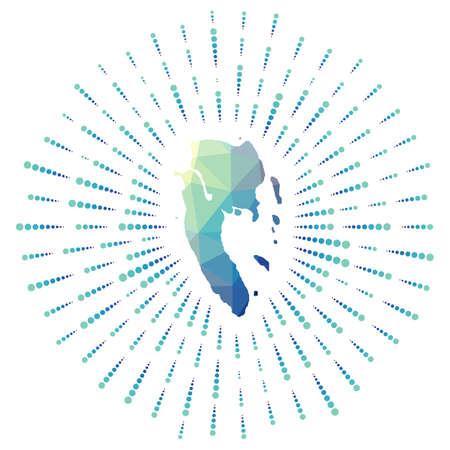 Shape of Ko Lanta, polygonal sunburst. Map of the island with colorful star rays. Ko Lanta illustration in digital, technology, internet, network style. Vector illustration. Ilustracje wektorowe