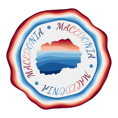 Macedonia badge. Map of the country with beautiful geometric waves and vibrant red blue frame. Vivid round Macedonia . Vector illustration.