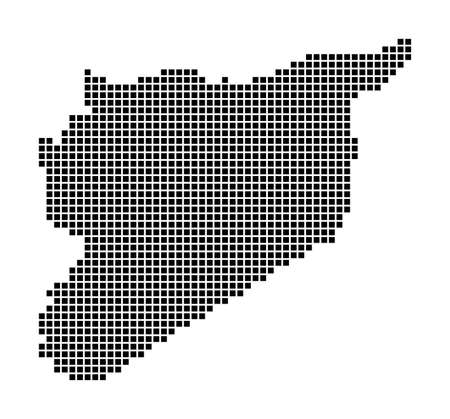 Syria map. Map of Syria in dotted style. Borders of the country filled with rectangles for your design. Vector illustration.