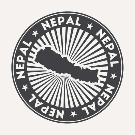 Nepal round . Vintage travel badge with the circular name and map of country, vector illustration. Can be used as insignia, label, sticker or badge of the Nepal.