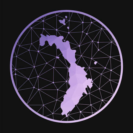 Lord Howe Island icon. Vector polygonal map. Lord Howe icon in geometric style. The island map with purple low poly gradient on dark background.