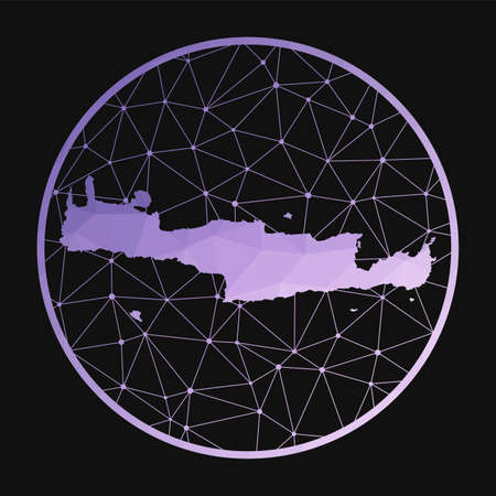 Crete icon. Vector polygonal map of the island. Crete icon in geometric style. The island map with purple low poly gradient on dark background. Иллюстрация