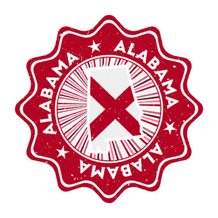 Alabama round grunge stamp with us state map and state flag. Vintage badge with circular text and stars, vector illustration.