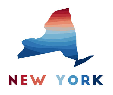 New York map. Map of the us state with beautiful geometric waves in red blue colors. Vivid New York shape. Vector illustration. 矢量图像