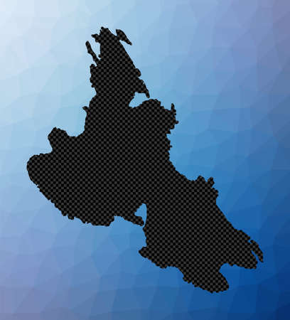Krk geometric map. Stencil shape of Krk in low poly style. Powerful island vector illustration.