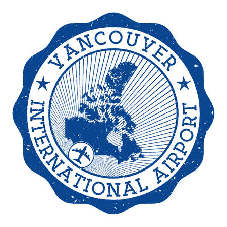 Vancouver International Airport stamp. Airport of Vancouver round logo with location on Canada map marked by airplane. Vector illustration. 向量圖像