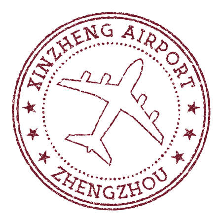 Xinzheng Airport Zhengzhou stamp. Airport of Zhengzhou round logo. Vector illustration.