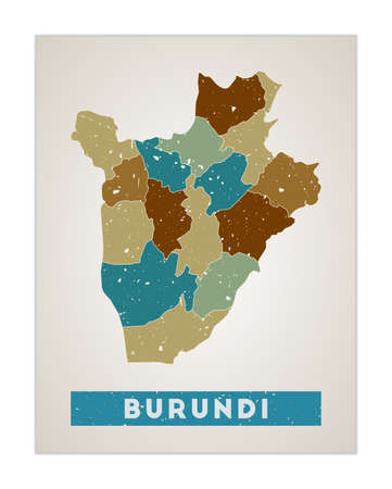 Burundi map. Country poster with regions. Old grunge texture. Shape of Burundi with country name. Radiant vector illustration.