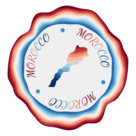 Morocco badge. Map of the country with beautiful geometric waves and vibrant red blue frame. Vivid round Morocco logo. Vector illustration.