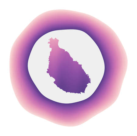 Santiago Island icon. Colorful gradient logo of the island. Purple red Santiago rounded sign with map for your design. Vector illustration. Logó