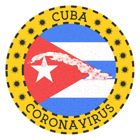Coronavirus in Cuba sign. Round badge with shape of Cuba. Yellow country lock down emblem with title and virus signs. Vector illustration.
