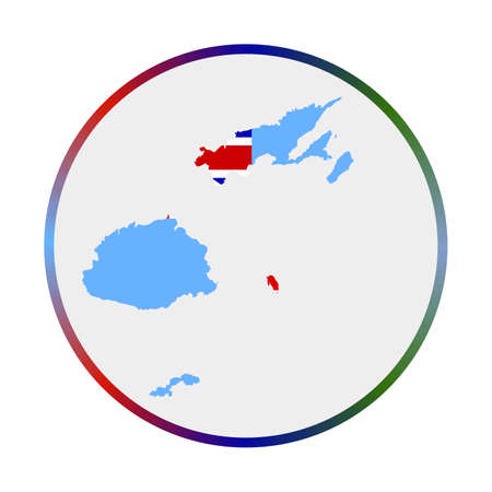 Fiji icon. Shape of the country with Fiji flag. Round sign with flag colors gradient ring. Captivating vector illustration. Vettoriali