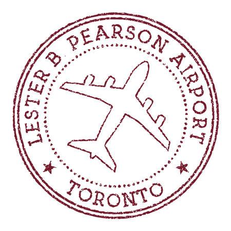 Lester B. Pearson Airport Toronto stamp. Airport of Toronto round logo. Vector illustration.