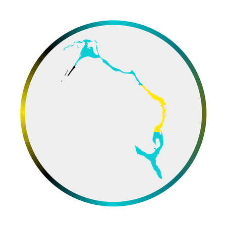 Eleuthera icon. Shape of the island with Eleuthera flag. Round sign with flag colors gradient ring. Astonishing vector illustration.