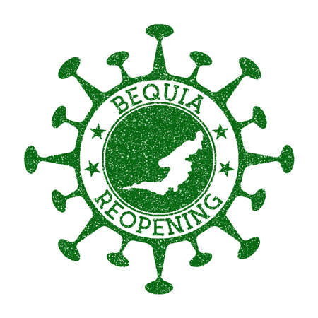 Bequia Reopening Stamp. Green round badge of island with map of Bequia. Island opening after lockdown. Vector illustration.
