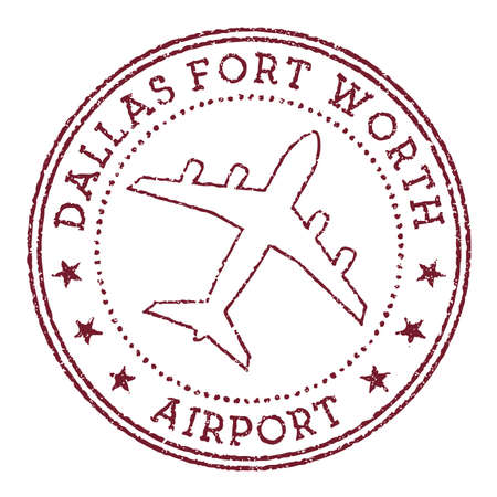 Dallas Fort Worth Airport stamp. Airport of Dallas-Fort Worth round logo. Vector illustration.