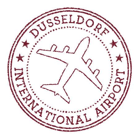 Dusseldorf International Airport stamp. Airport of Dusseldorf round logo. Vector illustration.