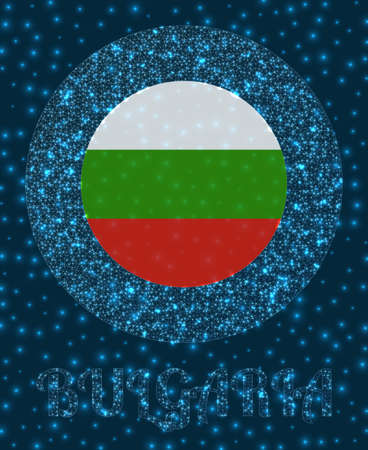Round Bulgaria badge. Flag of Bulgaria in glowing network mesh style. Country network logo. Appealing vector illustration. Logo