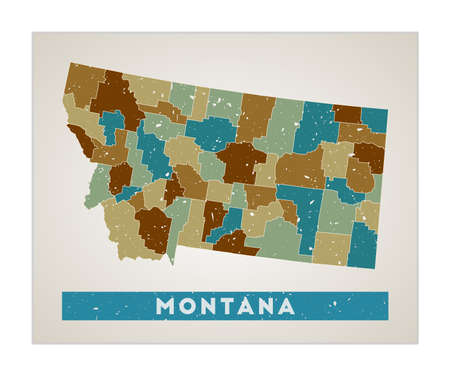 Montana map. Us state poster with regions. Old grunge texture. Shape of Montana with us state name. Amazing vector illustration.