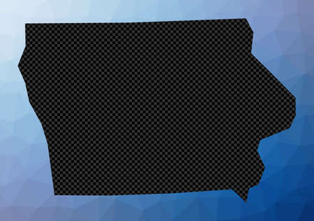 Iowa geometric map. Stencil shape of Iowa in low poly style. Elegant us state vector illustration.