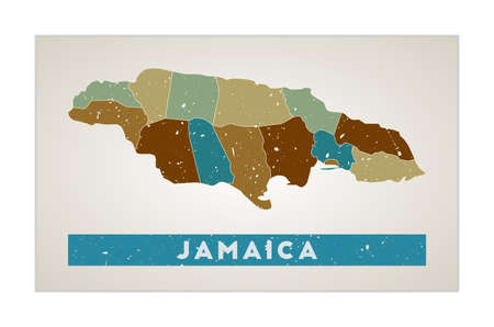 Jamaica map. Country poster with regions. Old grunge texture. Shape of Jamaica with country name. Stylish vector illustration.