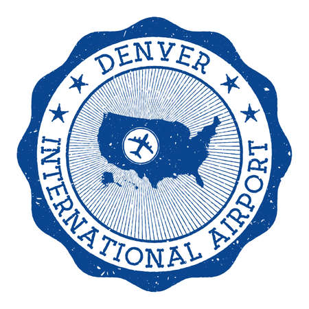 Denver International Airport stamp. Airport of Denver round logo with location on United States map marked by airplane. Vector illustration. Çizim