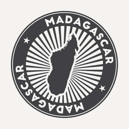 Madagascar round logo. Vintage travel badge with the circular name and map of country, vector illustration. Can be used as insignia, logotype, label, sticker or badge of the Madagascar. Иллюстрация