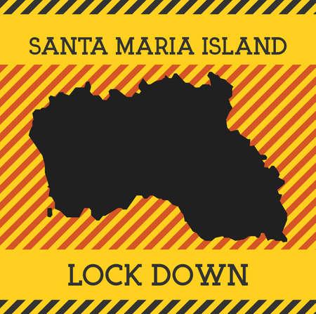 Santa Maria Island Lock Down Sign. Yellow island pandemic danger icon. Vector illustration. Çizim