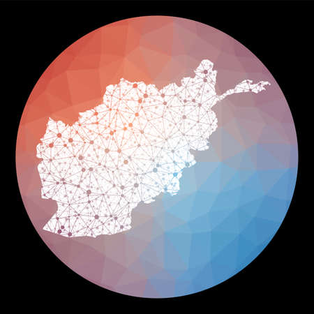 Vector network Afghanistan map. Map of the country with low poly background. Rounded Afghanistan illustration in technology, internet, network, telecommunication concept style.
