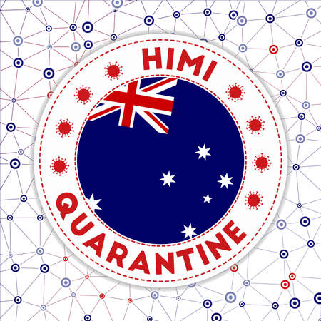 Quarantine in HIMI sign. Round badge with flag of HIMI. Country lockdown emblem with title and virus signs. Vector illustration.