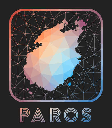 Paros map design. Vector low poly map of the island. Paros icon in geometric style. The island shape with polygnal gradient and mesh on dark background. Çizim