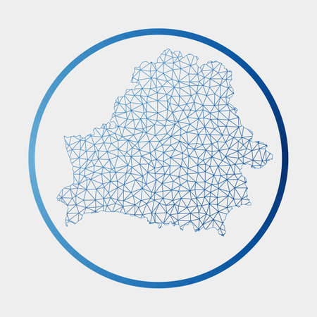 Belarus icon. Network map of the country. Round Belarus sign with gradient ring. Technology, internet, network, telecommunication concept. Vector illustration. Ilustração