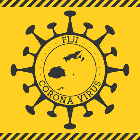 Corona virus in Fiji sign. Round badge with shape of virus and Fiji map. Yellow country epidemy lock down stamp. Vector illustration.